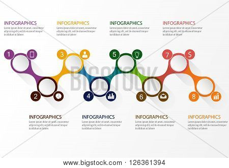 Infographics vector design timeline business template with icons and additional circles