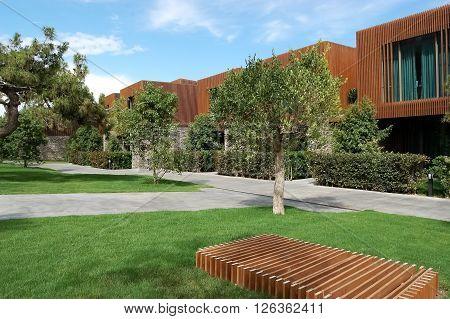 Kemer, ANTALYA, TURKEY - MAY 30, 2015: View of buildings and trees in luxury hotel Maxx Royal, Turkey.