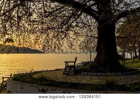 Sunset on embankment of Thassos town, East Macedonia and Thrace, Greece