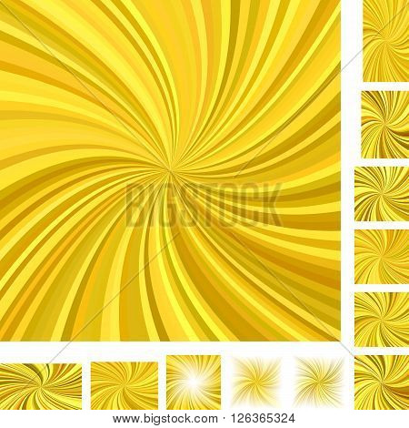 Golden vector spiral background set. Different color, screen, paper size versions.