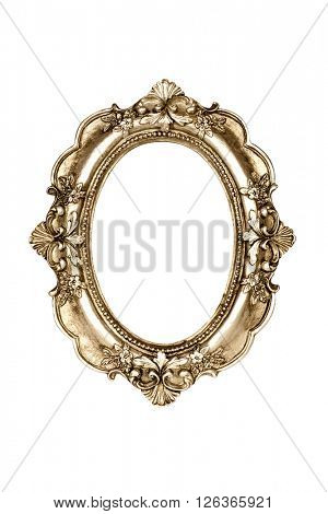Oval gold picture frame isolated with clipping path.