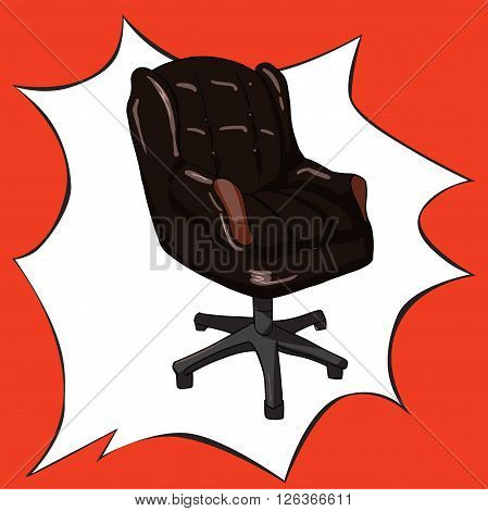 Vector image in pop art style with office chair for boss