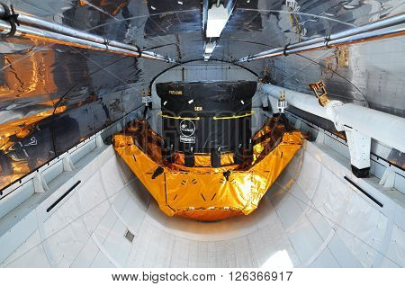FLORIDA, USA - DEC 20: Space Shuttle Explorer Cargo Bay. Explorer is a life-size replica of the Space Shuttle at Kennedy Space Center on Dec. 20, 2010 in Cape Canaveral, Florida, USA.