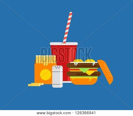 Fresh burger vector illustration. Traditional american burger with vegetables ketchup and fried eggs. Vector hamburger illustration. Burger with meat steak. Fast food burger.