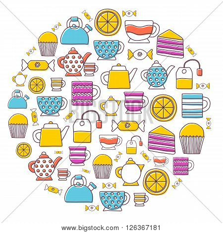 Vector teatime background. Cartoon hand drawn illustration with teatime objects. Tea ceremony concept. English afternoon 5 o'clock teatime. Hot beverage with dessert: cupcake lemon pastry