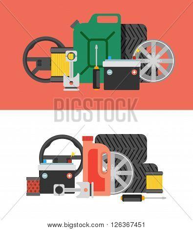 Car parts vector set. Car service vector icon set. Car parts shop banner. Car service. Tire service vector icon set. Repair car service