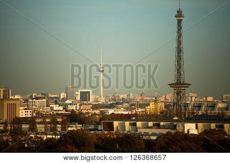 Skyline of Berlin with TV tower in evening sunlight