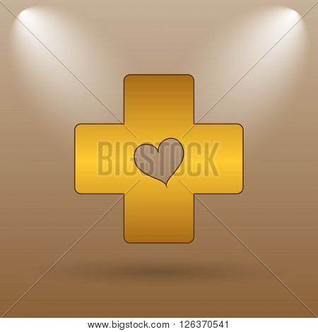 Cross With Heart Icon