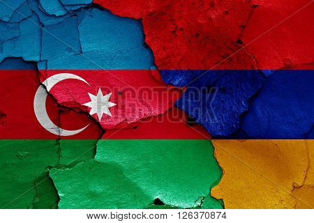 flags of Azerbaijan and Armenia painted on cracked wall poster
