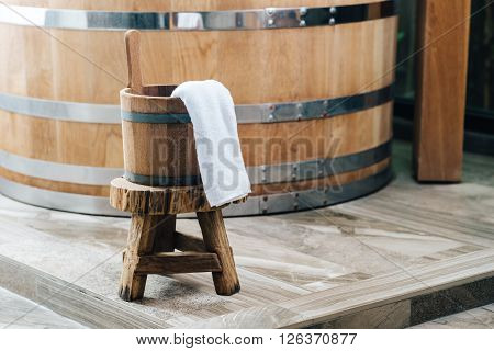 Onsen series : Wooden bucket in onsen