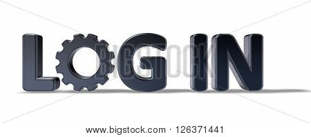the word login with gear wheel on white background - 3d illustration