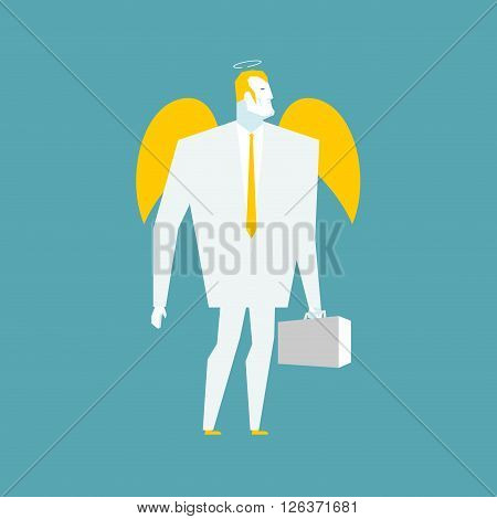Angel Businessman. Cherub Paradise Manager.  Guardian Angel For Your Business. Holy Man With Halo In
