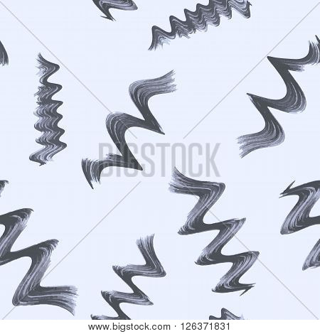Seamless pattern with spiral curls and waves. Hand-drawn doodle. Vector.
