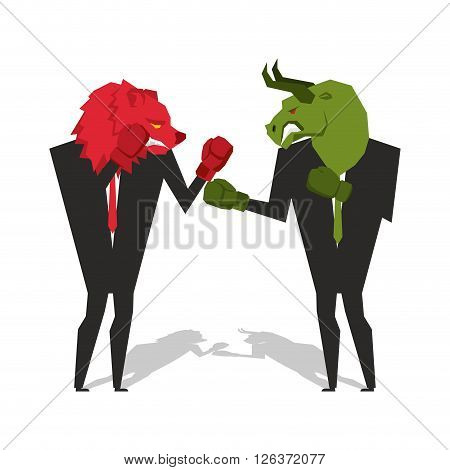 Bear And Bull Are Boxing. Traders Fight. Businessmen Combat In Business Suit And Boxing Gloves. Batt