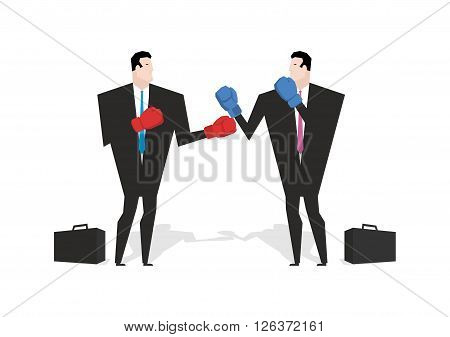 Boxing Businessman. Managers Are Boxing. Office People Fight. Combat Businessmen In Business Suit An