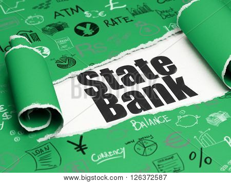 Currency concept: black text State Bank under the piece of  torn paper