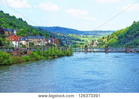 Panoramic view of quay of Neckar river and bridge in Heidelberg in Germany. Heidelberg is a city in Baden-Wurttemberg in Germany.