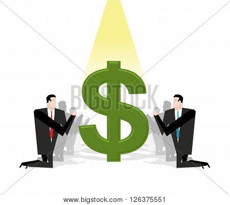 Businessman Praying To Dollar. Financial Idol. Worship Of Money. Prayer Cash. People Are Standing On