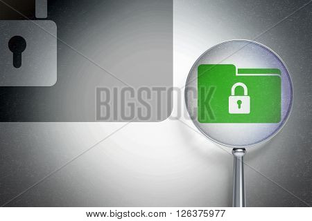 Business concept:  Folder With Lock with optical glass on digital background