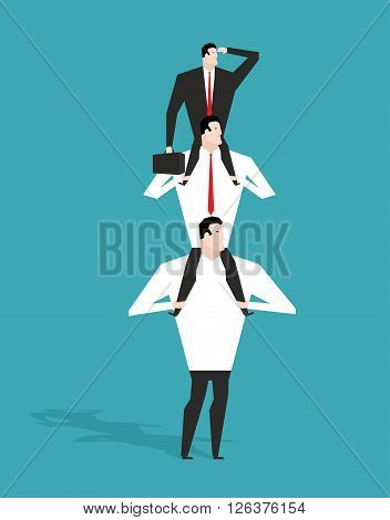 Career Ladder. Boss Sitting On Shoulders Of Deputy. Head Sits On Neck Of Manager. Director Is Lookin