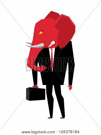 Elephant Republican Politician. Metaphor Of Political Party Of Usa. Wild Animal With Briefcase And T