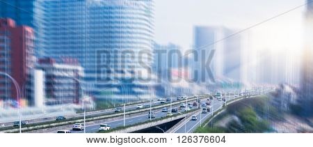 traffic against the building,blurred background.