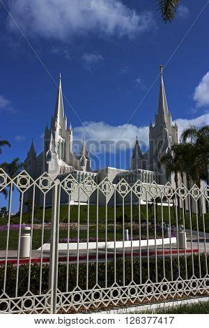 Beautiful Mormon temple in San Diego,California, Usa.