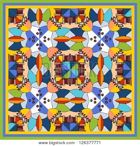 Colorful bandana print with kaleidoscope. Geometric ornamental background. Bandana print or kerchief square pattern design style for print. Multicolor silk neck scarf. Bright vector illustration.