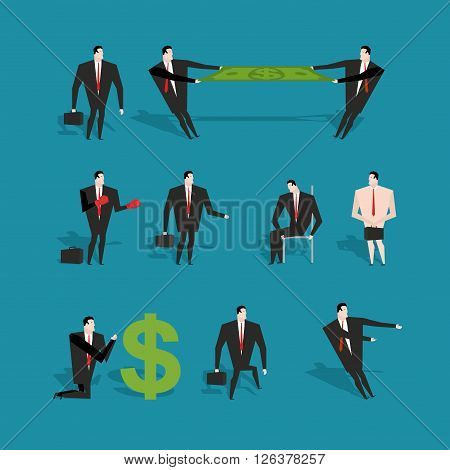 Set Of Businessman In Various Poses And Situations. Man In Business Suit At Work. Two Managers Share