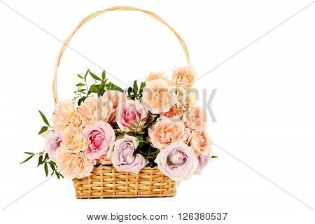 Bouquet Of Beautiful Roses Isolated On A White