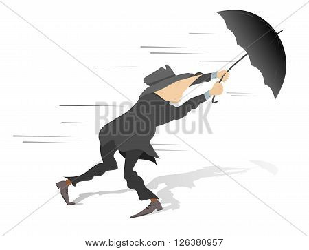 Windy day? Man tries to hold an umbrella gone with the wind