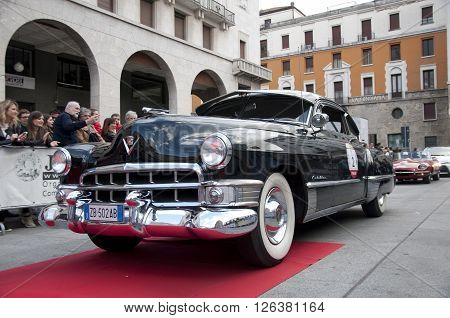 BRESCIA, ITALY - APRILE 17, 2016:500 Miglia. Finish. CADILLAC FLEETWOOD, 1953 built