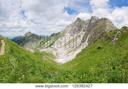 Mountain landscape in summer in the Allgau Alps, Germany