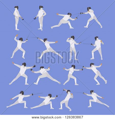 Vector set of sport fencing athletes isolated icons. Fencing silhouette illustration. Sport design elements and icons.
