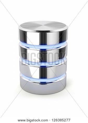 Chrome Hard Disk Drive, Metal Data Storage, Light Stripes Database