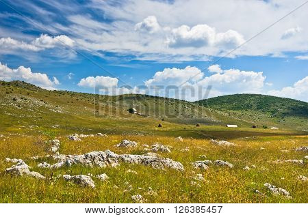 Panorama of Pester plateau landscape in southwest Serbia
