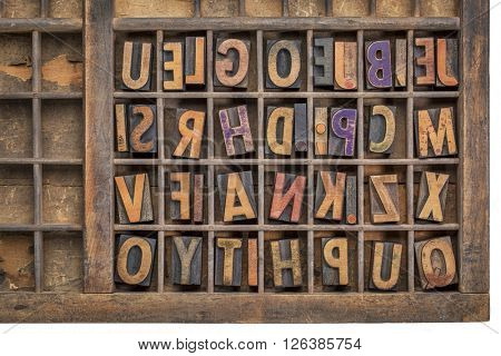 vintage letterpress wood type printing blocks  in a grunge typesetter drawer poster