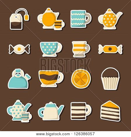 Vector cartoon teatime icons. Vector illustration with tea ceremony objects. Traditional teatime goods. Tea party illustration. Cartoon english 5 oclock icons. Traditional english tea concept