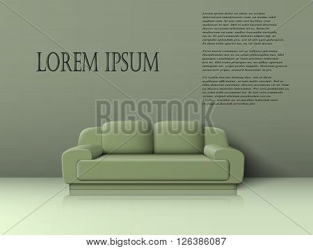 Green two seater sofa with cushions in gray and green bathroom