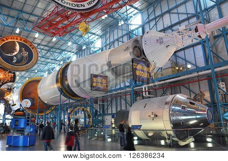 FLORIDA, USA - DEC 20: Saturn V Rocket displayed in Apollo/Saturn V Center, Kennedy Space Center Visitor Complex on Dec. 20, 2010 in Cape Canaveral, Florida, USA.