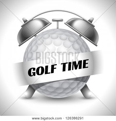 Golf Time. Concept on Sport Golf Theme. Time to Play Sports. Time to Watch Golf Tournament. Time To Play Golf. Vector Illustration. Isolated On White background.