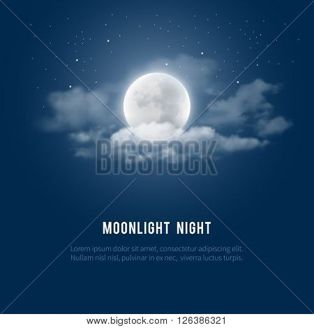 Mystical Night sky background with full moon, clouds and stars. Moonlight night. Vector illustration. poster