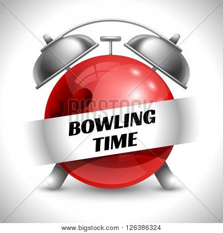 Bowling Time. Concept on Sport Bowling Theme. Time to Play Sports. Time to Watch Bowling Tournament. Time To Play Bowling. Vector Illustration. Isolated On White background.