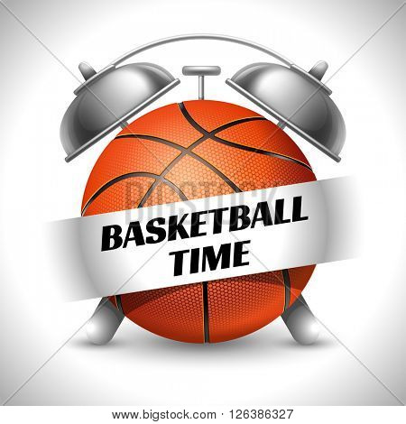 Basketball Time. Concept on Sport Basketball Theme. Time to Play Sports. Time to Watch Basketball Tournament. Time To Play Basketball. Vector Illustration. Isolated On White background.