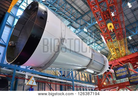 FLORIDA, USA - DEC 20: Saturn V Rocket Service Module displayed in Apollo Saturn V Center, Kennedy Space Center Visitor Complex on Dec. 20, 2010 in Cape Canaveral, Florida, USA.