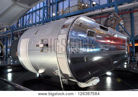 FLORIDA, USA - DEC 20: Apollo CSM (Command/Service Module) lunar orbit Model displayed in Apollo/Saturn V Center, Kennedy Space Center Visitor Complex on Dec. 20, 2010 in Cape Canaveral, Florida, USA.