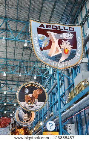 FLORIDA, USA - DEC 20: Apollo Misson Badges in Apollo/Saturn V Center at Kennedy Space Center Visitor Complex on Dec. 20, 2010 in Cape Canaveral, Florida, USA.