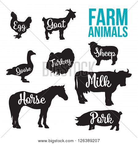 Black contour farm animals with a white inscription inside, vector set of different animals, cattle, poultry, horned animal, domestic goose, food, animal outline for the product poster