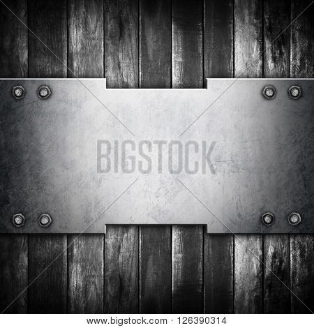 metal template on old wood plank background