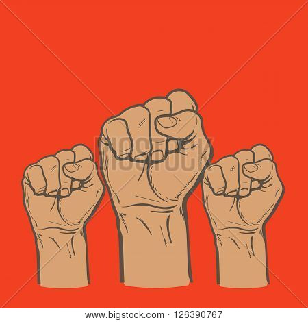 Many a man's fist on a red background, illustration sketch of three human hands raised up, drawn by hand, color art concept of resistance, strength, majority, fight, defending rights of society